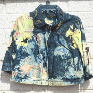 Tie Dyed Denim Punk Rock Distressed Art Jacket